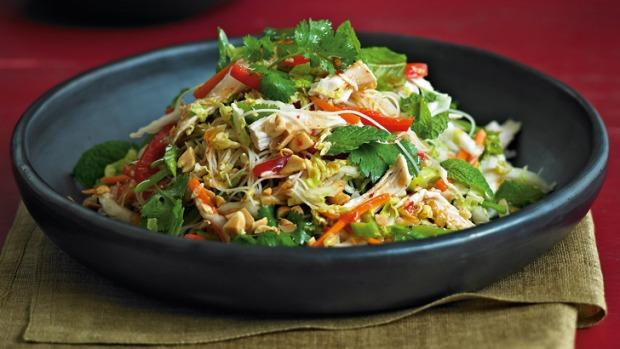 Warm Vietnamese Roast Chicken Noodle Salad