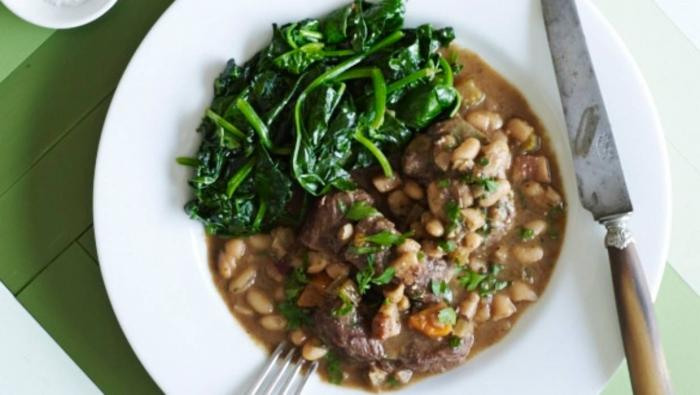 Beef stew with cannellini beans and broccolini