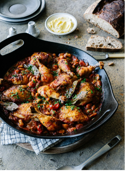 Oven baked chicken with smoky devilled beans