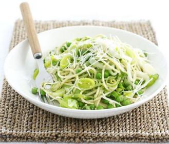 Spaghetti with leeks, peas and pesto