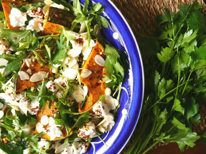 Warm lamb, chickpea and pumpkin salad with goat's cheese