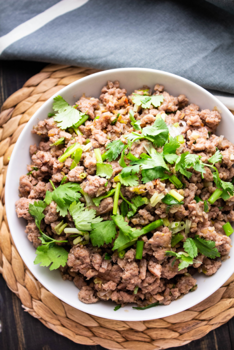 Vietnamese minced pork with rice and Vietnamese salad