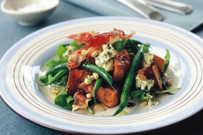 Warm bacon, kumara, bean and blue cheese salad