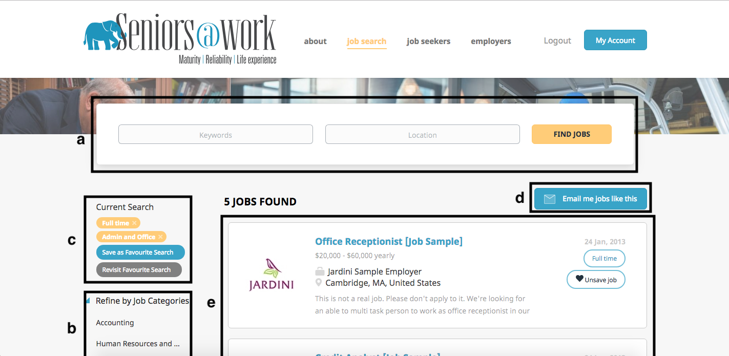 how-to diagram of the search jobs page
